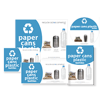 Paper, Cans, and Plastic Labels