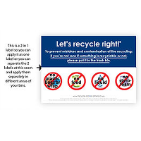 Let's recycle right label with Images of Don'ts